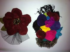 felt flower arrangements for wearing.