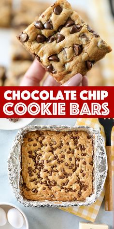 Easy Chocolate Chip Cookie Bars Thick and soft chocolate chip cookie bars baked in a pan. This smaller batch version of my popular cookie bar recipe is perfect for families! Dessert Simple, Bon Dessert, Easy Dessert Bars, Easy Chocolate Chip Cookies, Soft Chocolate Chip Cookies, Chocolate Chip Recipes Easy, Mint Chocolate, Chocolate Chip Dessert, Desserts With Chocolate Chips