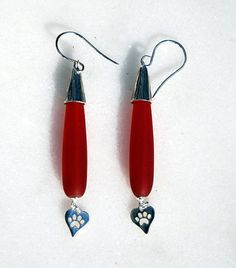 Handmade red recycled glass teardrop sterling by KarmaKittyJewelry $17.00