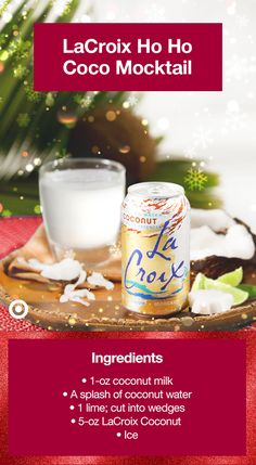 • In an old fashioned glass add ice, coconut milk & a splash of coconut water • Squeeze in a little lime, to your taste • Stir the mixture before straining it • Top it off with LaCroix Coconut Sparkling Water • Garnish with a lime wedge • Enjoy! • 3/$10 sale on LaCroix Sparkling Water items at Target Juice Drinks, Cocktail Drinks, Yummy Drinks, Healthy Drinks, Cocktails, Whole 30 Recipes, Fall Recipes, Holiday Recipes, Coconut Water