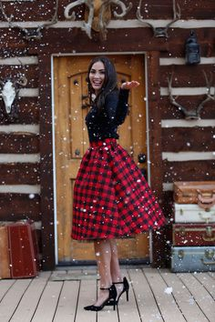 Buffalo Plaid Wonderland Skirt by Shabby Apple