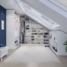 Dressing room dream under roof slopes- Ankleidezimmer-Traum unter Dachschrägen You do not know how. Bedroom Storage Ideas For Clothes, Bedroom Storage For Small Rooms, Loft Room, Closet Bedroom, Diy Bedroom, Master Bedroom, Attic Bedroom Designs, Attic Rooms, Dressing Room Design