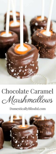 Chocolate Caramel Marshmallows are a delicious treat, especially when sprinkled with chocolate sea salt! A great addition to your next party dessert table! See more desserts like this ---> http://fabulesslyfrugal.com/?s=dessert