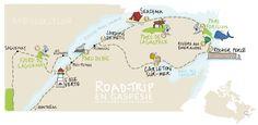 ANDYCURLY.COM Carte itinéraire road trip - Quebec - Canada - Gaspésie, Bas-Saint-Laurent, Fjord du Saguenay Bas Saint Laurent, Mother Daughter Trip, Road Trip Map, Escapade, Fjord, Trotter, Parcs, Plein Air, Trekking