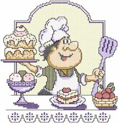 Chef cross stitch free embroidery design 4 - Cross stitch machine embroidery - Machine embroidery community