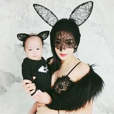 Sexy momma @shaine all dolled up with her lovely baby girl. Our hearts are melting at the sight of this photo 😍 — Shop Eden Bralette in B/W while stocks last: www.summerandpeach.com | #summerandpeach