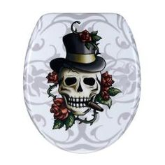 @Overstock.com - This contemporary toilet seat cover makes an intriguing addition to any bathroom. The skull with a top hat and cigar surrounded by thorny red roses catches the eye and captures the attention, livening up an otherwise ordinary activity.http://www.overstock.com/Home-Garden/Skull-and-Roses-Designer-Melamine-Toilet-Seat-Cover/5298224/product.html?CID=214117 $25.28