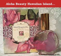 "Aloha Beauty Hawaiian Island Bougainvillea Eau De Parfum Spray 1.7 oz. The exclusive Aloha Beauty company is known for its quality products and are sold in upscale hotels and boutiques in the islands. Aloha Beauty is also proud to feature the beautiful original floral compositions of Island artist Teri Inouye on their perfume boxes and other product packaging. ""Experience a colorful celebration of pure paradise with this fruity, floral fragrance that adds a sparkle to the air."" - Aloha…"