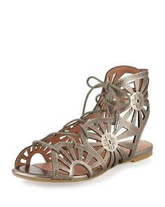 Shop Teagan Laser-Cut Leather Sandal, Gunmetal from Joie at Neiman Marcus  Last Call, where you'll save as much as on designer fashions.