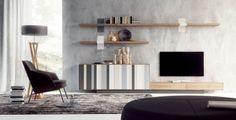 Muebles de salón moderno Catania con puertas AV plegables