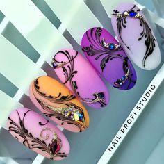 Diy Nails, Swag Nails, Nail Art Arabesque, Swirl Nail Art, Nail Ink, Sculpted Gel Nails, Airbrush Nails, New Nail Art Design, Animal Nail Art