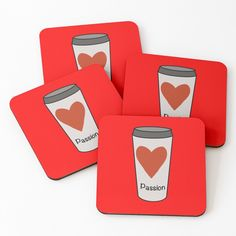 """Love Coffee With A Passion -White Travel Mug Coffee Design"" Coasters (Set of 4) by Pultzar 