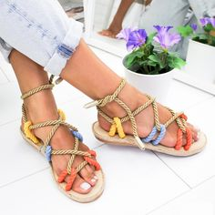 Womens Elastic Cross Strap Ankle Flat Sandals Casual Anti-Slip Open Toe Summer Beach Sandals Shoes Size 5-8