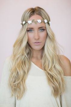 Flower Crown, White Rose Headband, Wedding Festival Hair Bands, Women's Fashion Hair Accessories (HB-19) on Etsy, $18.00