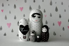 BLACK and WHITE wooden handpainted russian nesting doll / matryoshka doll…