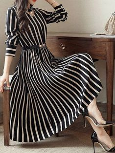 Round Neck Cutout Vertical Striped Belt Midi Skater Dress The most beautiful and newest outfit ideas Mode Outfits, Dress Outfits, Fashion Dresses, Maxi Dresses, Woman Dresses, Midi Dress Outfit, Evening Dresses, Resort Dresses, Hijab Dress