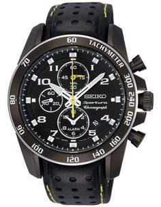Seiko Sportura Alarm Chronograph - Black Steel Case - Leather - Yellow Accents