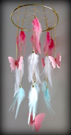 Coral Pink and Mint Baby Mobile, Dream catcher Mobile, Boho Feather Mobile…