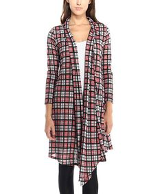 PinkBlush Navy & Pink Plaid Open Cardigan | Navy pink and Open ...