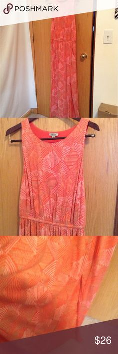 Lucky Brand Knit Maxi Orange with white and coral pattern, sleeveless with modest side slit. Size medium Lucky Brand Dresses Maxi