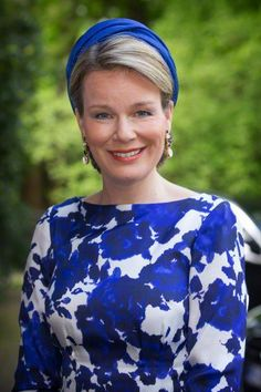 Queen Mathilde of Belgium visits the residence of the Belgian ambassador on May 20, 2015 in The Hague, The Netherlands.