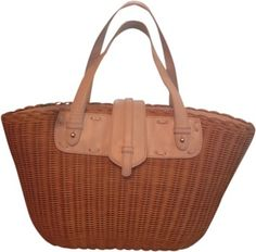 Spring Tote in White Leather Natural Reed