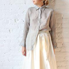 Ichi Antiquites Grey Linen Shirt