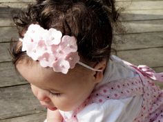 Cute hydrangea headband. I know that a baby is modeling this, but I'd probably wear it myself.  #diy