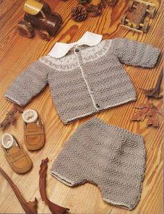 Foto: Conjunto pantalón corto y saquito con canesú en jackard 2º medida