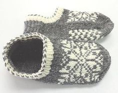 Uppsala Slippers by Ram Wools Yarn Co-op on Ravelry. Free knitting pattern for slippers with a fair isle motif. Knitted Slippers, Knit Mittens, Crochet Slippers, Knit Or Crochet, Knitting Socks, Baby Knitting, Knit Socks, Knitting Machine, Knit Slippers Pattern