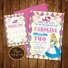 Alice in wonderland birthday invitation by MagicDreamsDesign