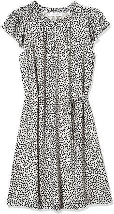 Amazon.com: Lark & Ro Women's Georgette Split Neck Ruched Flutter Sleeve Dress, WHITE/BLACK POLKA DOT, 2: Clothing Figure Flattering Dresses, Georgette Fabric, Warm Coat, Office Outfits, Flutter Sleeve, Casual Tops, Beautiful Dresses, Short Sleeve Dresses, Shirt Dress