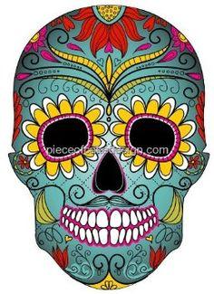 1/4 Sheet ~ Sugar Skull Colorful Birthday ~ Edible Image Cake/Cupcake Topper!!!