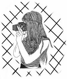 Imagen de girl, drawing, and art Tumblr Girl Drawing, Tumblr Sketches, Tumblr Drawings, Tumblr Art, Tumblr Girls, Tumblr Outline, Outline Art, Outline Drawings, Cool Drawings