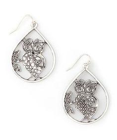 Love this Silvertone Owl Teardrop Earrings on #zulily! #zulilyfinds
