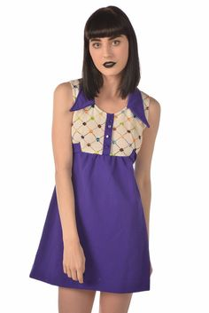 Doll Parts 60s Purple   White Embroidered Babydoll Dress