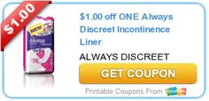 Tri Cities On A Dime: $1.00 COUPON ON 1 ALWAYS DISCREET INCONTINENCE LIN...
