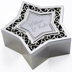 Engraved Silver Star Filigree Trinket Box by Personalised Gifts Shop - ONLY Engraved Wedding Gifts, Wedding Gifts For Bride And Groom, Mother Of The Groom Gifts, Engraved Gifts, Bride Gifts, Communion Gifts, Confirmation Gifts, Flower Girl Gifts, Personalised Gifts