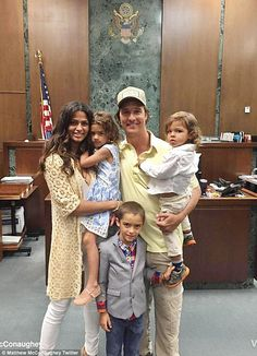 Family affair: Matthew McConaughey and their children watched wife Camila become a US citizen  Tuesday