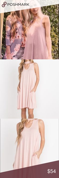 High Neck Cut Out Dress Beautiful light dress in dusty pink! Flattering cut out front and back! High neck banded choker style buttons at the back! Elegant to dress up or pair down with casual sandals! Rayon 95% Spandex 5% Garment Care: Hand Wash Cold Sizes: Small Medium Large Dresses Mini