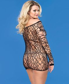 Brand New Plus Size Web Net Long Sleeve Chemise 86570Q | eBay