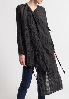 Uma Wang Sheer Kunto Jacket in Black Fashion Forward, Style Me, Kimono Top, Jackets, Clothes, Black, Tops, Women, In Trend