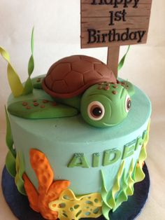 Birthday cake | 1st birthday | kids cake | sea turtle | custom topper | ocean | buttercream | fondant sea decor