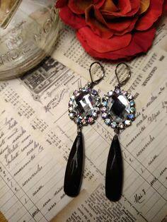 Crown Jewels Super Long Chandelier Rhinestone Black by Glamaroni