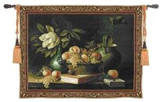 "$169.99 Vianchies Grapes wall tapestry 53"" x 43"" 2136-WH a Beautiful still life by Riccardo Bianchi features a lusch magnlia flower and a bowl of bountiful grapes upon a stack of books.   http://www.delectably-yours.com/Wine-and-Vineyard-Wall-Hangings-C158.aspx?s=OrderBy%20ASC=1"
