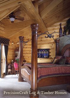 Master Bedroom in Custom Milled Log Home