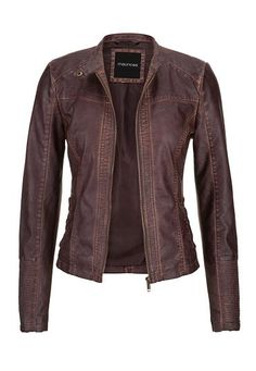 distressed moto jacket with ribbed knit sides (original price, $59) available at #Maurices