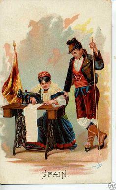 1890's ANTIQUE VINTAGE VICTORIAN TRADE CARD SINGER SEWING MACHINE SPAIN CORUNN