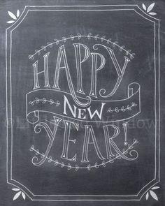 Frohes neues Jahr Tafel Druckversion Drucken8 x von LittleRedWindow