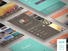 Freebee is a free app concept made of 4 different screens. Free PSD designed and released by Deividas Graužinis.
